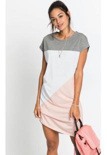 Vestido Com Recortes Geométrico Cinza Mescla