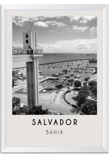 Quadro Oppen House 65X45Cm Cidades Salvador Brasil Moldura Branca Com Vidro - Oppen House Decora