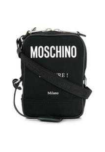Moschino Bolsa Transversal Com Estampa De Logo - Preto
