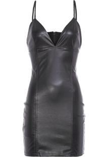 Vestido Cuts Leather John John - Preto