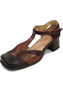 Sapato Boneca Couro Dali Shoes Bico Quadrado Com Recortes E Salto Grosso Marrom