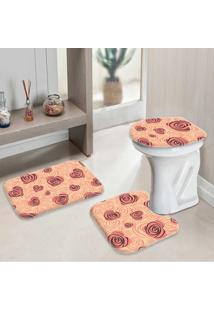 Jogo Tapetes Para Banheiro Coração Com Flor Geometrico