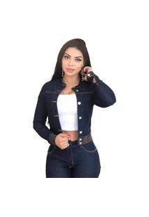 Jaqueta Jeans Feminina Escura Azul