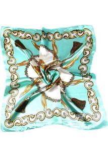 Lenço Artestore De Seda Luxo Dourada - Feminino-Verde