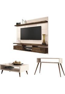 Painel Tv Livin 1.8 Com Mesa De Centro Lucy E Aparador Quad Off White/