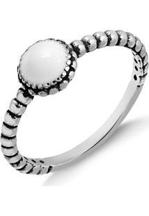 Anel Solitário Com Pedra Branca Em Prata Envelhecida - 1140000004024 12