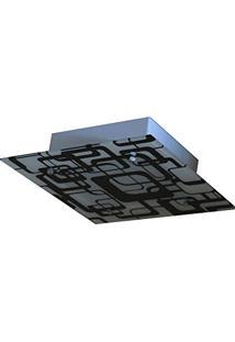 Lustre Plafon Para Sala / Cozinha / Banheiro /Quarto 30Cm X 30Cm - Geométrico Preto