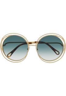 Chloé Eyewear Óculos De Sol Carlina Com Corrente - Marrom