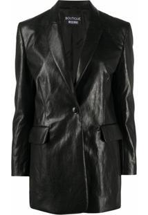 Boutique Moschino Blazer Com Abotoamento Simples E Detalhe De Vincos - Preto