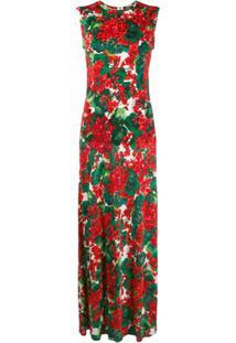 Dolce & Gabbana Vestido Longo Com Estampa Floral - Vermelho