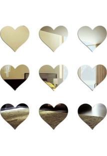 Espelho Decorativo Mini Corações 9 Peças Tamanhos 16,5 Cm