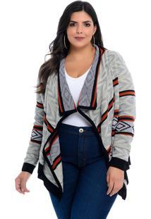 Casaco Maxi Cardigan Dianna Plus Size Cinza Étnico