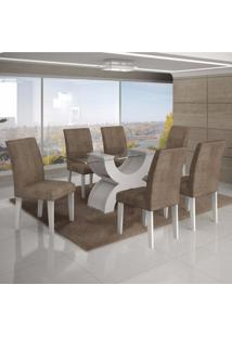 Conjunto Sala De Jantar Mesa Tampo Vidro 180Cm 6 Cadeiras Olímpia New Leifer Branco/Animale Capuccino