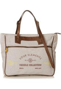 Bolsa Blue Bags Tote Reciclada Bordado Ar Feminina - Feminino-Off White