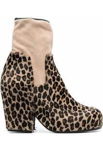 Random Identities Panelled Leopard Ankle Boots - Neutro