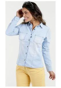 618b9dff50 Marisa. Camisa Feminina Jeans Delavê Manga Longa Marisa