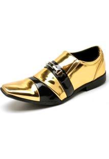 Sapato Social Top Franca Shoes Verniz Masculino - Masculino-Preto+Dourado