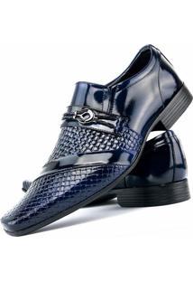 Sapato Social Venetto Envernizado Azul