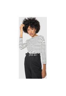Blusa Calvin Klein Listrada Off-White/Preta