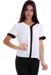 Blusa Kinara Chiffon Bicolor Manga Curta Branca/Preta