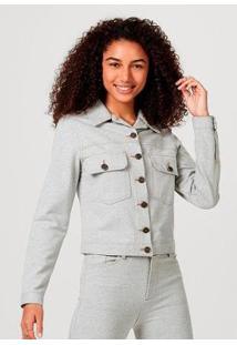 Jaqueta Em Malha De Algodão Com Bolso Hering Feminina - Feminino-Cinza
