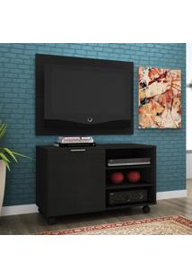 Rack Com Painel Para Tv 32 Polegadas Compaq Preto 90 Cm