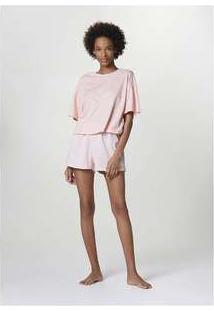 Pijama Curto Feminino Com Blusa Estampada Rosa