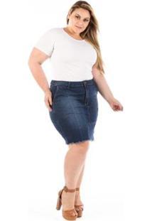 Saia Jeans Plus Size Midi Versa Com Bolsinho - Feminino-Azul