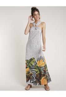 Vestido Feminino Água De Coco Longo Halter Neck Estampado Cesto De Frutas Off White