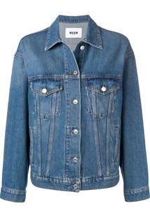 Msgm Jaqueta Jeans Com Estampa - Azul
