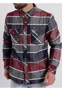 Camisa Manga Longa Masculina Federal Art Cinza/Vermelho