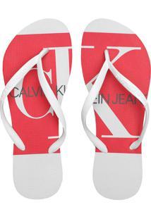 Chinelo Calvin Klein Logo Branco/Vermelho