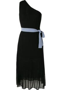 Emporio Armani Vestido Midi Ombro Único - Preto