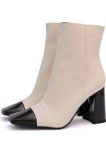 Bota Its Shoes Bico Quadrado Nude Com Preto