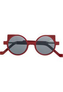 Vava Óculos De Sol Redondo - Vermelho