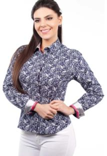 Camisa Love Poetry Estampada Azul/Branca