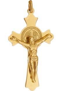 Pingente Crucifixo Com Cruz Tudo Jóias São Bento De Aço Inox Dourado