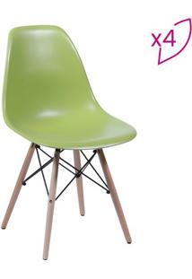 Jogo De Cadeiras Eames Dkr- Verde Militar & Bege- 4Por Design
