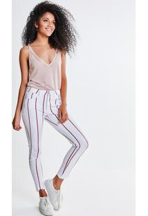 Calça Skinny Com Listras Vermelhas