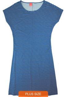 Vestido Azul Curto Listrado