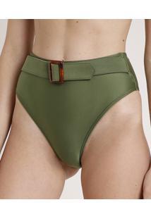 Biquíni Calcinha Água De Coco Hot Pant Com Cinto Proteção Uv50+ Verde Militar