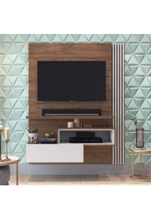Painel Para Tv Até 55 Polegadas 1 Porta Basculante Estilare Móveis Madeira/Branco