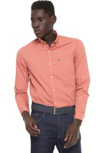 Camisa Lacoste Regular Fit Vichy Laranja