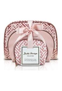 Kit De Necessaire Com 3 Pçs Diamantes - Rosa