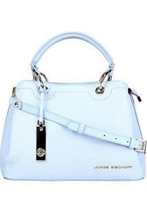 Bolsa Couro Jorge Bischoff Tote Estruturada Feminina - Feminino-Azul Claro