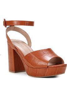 Sandália Couro Shoestock Meia Pata Croco Feminina - Feminino-Caramelo