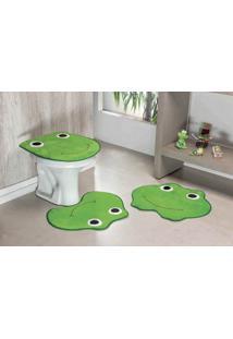 Jogo De Banheiro Premium Formato Sapo 03 Peças Verde Pistache Guga Tapetes