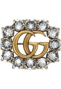 Gucci Broche 'Duplo G' Com Cristais - Metálico
