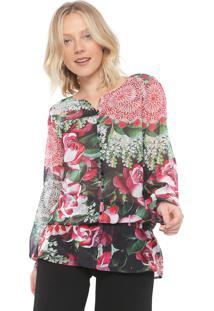 Camisa Desigual Georgia Verde/Rosa