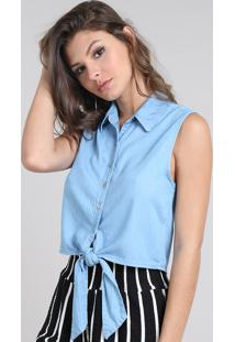Camisa Jeans Feminina Cropped Com Amarração Sem Manga Azul Claro